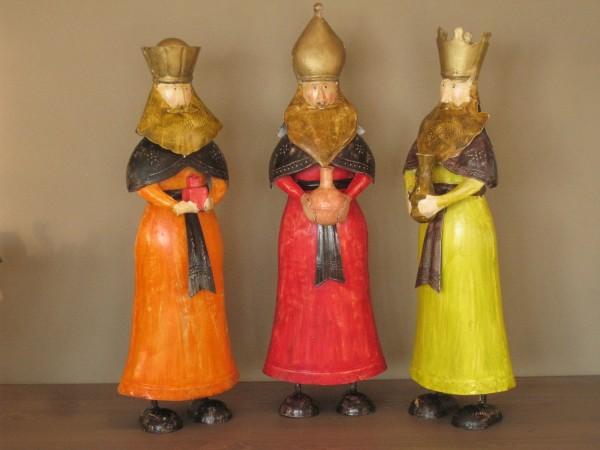 Die Heiligen Drei Könige, 3 große Figuren aus Metall, ca. 52 cm, handbemalt