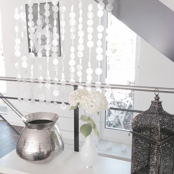 Muschelvorhang aus echten Capiz-Muschelscheiben ca. 120 cm x 225 cm als Raumteiler, Türvorhang, Wand