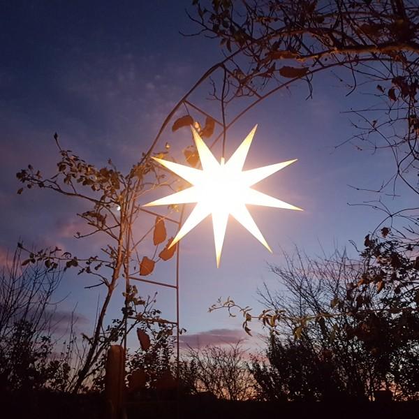 LED - beleuchteter Falt-Außenstern 9 Zack weiß