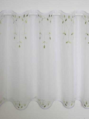 Panneaux Scheibengardine weiß/grün 45 cm hoch (weiß/grün, 45 cm), Preis pro Musterbreite à 16 cm