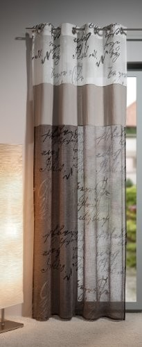 Gardine, Ösenschal,140cm x 245 cm weiß / taupe, Kalligraphie 20, 3-teilig, halbtransparent , elegant