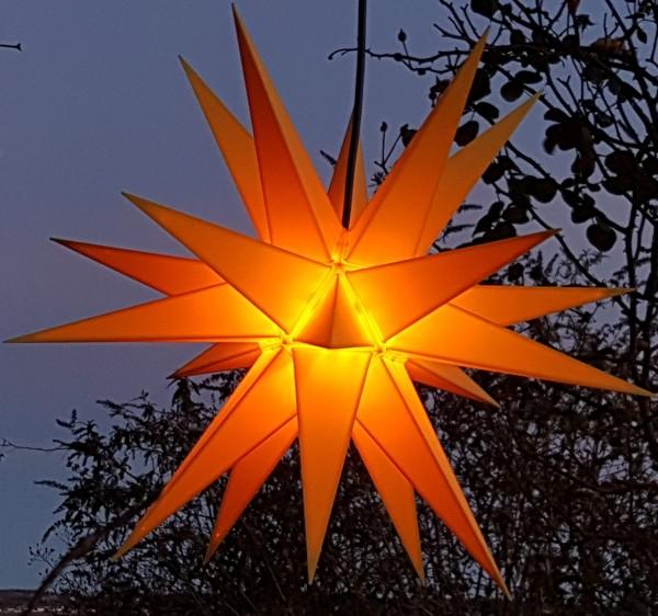 Mit LED Melchior outdoor II gelb, Außenstern inkl. Außenkabel / Außensterne