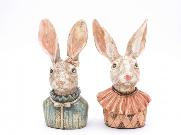 2 Hasenskulpturen ca. 22 cm hoch, Hasenfiguren Klara und Karl