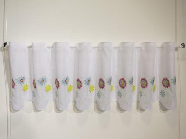 Panneaux Scheibengardine bunt bestickte Blumen 30 cm hoch - Preis: 1 Musterbreite à 16 cm = 1 Stück