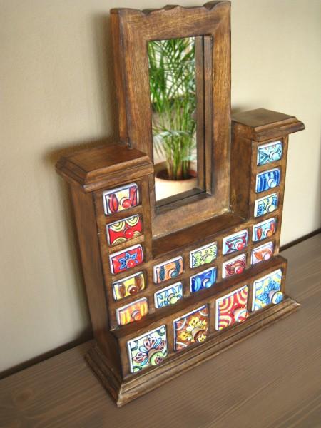 Standschränkchen Keramik, 20 Schubladen, 1 Spiegel, Keramikkommode, braun