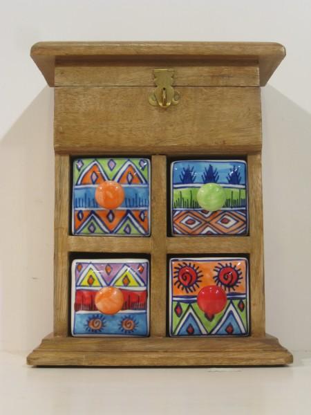 Keramikkommode, Deckel mit Keramikknopf, Schmuckkästchen, braun GZ-3PP