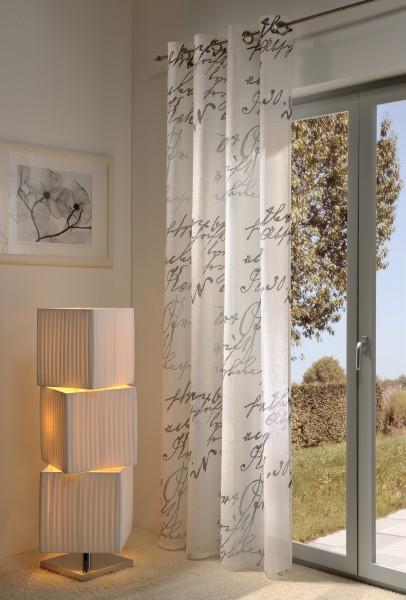 Gardine, Ösenschal, 140cm x 245 cm weiß , Script , halbtransparent, elegant weich fließende hochwert